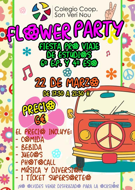 El próximo 22 de marzo se celebra de 17.30 a 21.30 horas, la tradicional fiesta anual Flower Power, una fiesta pro viaje de estudios.